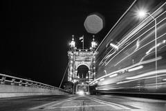 Suspended Way (Capture Lights) Tags: architect bridge bw cincinnati fujifilm light monochrome night ohio street