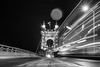 Suspended Way (Capture Lights) Tags: architect bridge bw cincinnati fujifilm light monochrome night ohio street