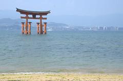 Floating shrine Miyajima from the beach