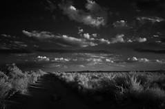 mesa thoroughfare (johngpt) Tags: sunset clouds cumulus dirtroad volcanos westmesa infraredfilter cumulushumilis fujifilmfinepixx100 zomeiir720filter wclwideconversionlens