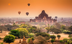 Dhammayangyi Pahto at Sunrise, Bagan, Myanmar (syukaery) Tags: trip travel tourism sunrise temple pagoda nikon asia burma balloon landmark d750 myanmar burmese bagan