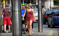 `1457 (roll the dice) Tags: uk portrait england people urban baby hot colour sexy london art classic girl sunglasses weather funny pretty sad natural legs steel candid cab taxi crowd streetphotography sunny skirt stranger bum pop short blonde unknown kensington mad emotions unaware w8 londonist erections