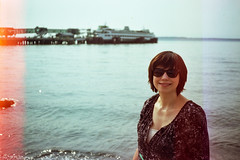 Jules in Edmonds (Casey Broadwater Photography) Tags: light film ferry 35mm washington waves kodak ishootfilm lightleaks sound pacificnorthwest jules leak pnw puget julianna ricoh500g