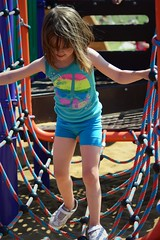 Fun at a Park Event (Vegan Butterfly) Tags: park bridge playing cute girl person climb kid vegan edmonton child play adorable rope climbing event homeschool homeschooling
