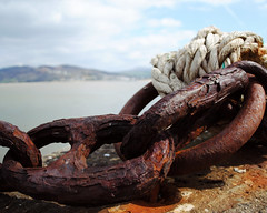 Time takes it's toll (Sarah Cowan's mix of photo love) Tags: ireland pier boat marine harbour rope chain anchor nautical inchisland inchpier