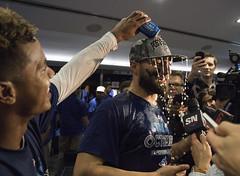Just a small, subdued toast to the playoffs … right, Kevin Pillar? (LottOnBaseball) Tags: toronto beer baseball champagne pillar bluejays playoffs jays mlb rogerscentre postseason kevinpillar