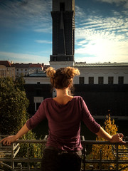 On a Balcony, Prague (vickarsdominic) Tags: fall girl balcony bluesky s frombehind blus gardensquare
