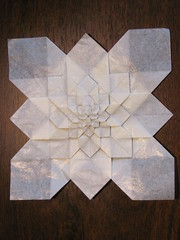 Hydrangea - 8 stages (S. Fujimoto) (Helyades) Tags: paper square grid origami hydrangea fold grille papier tessellation carré pli fujimoto pliage