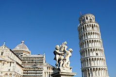 piazza dei miracoli (pisa, italy) (bloodybee) Tags: street blue sky italy tower art church monument statue architecture square grey europe cathedral gray pisa tuscany duomo leaningtower torrependente piazzadeimiracoli 365project