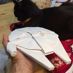 25cm long Millennium Falcon origami display model with 80cm sq. paper (Matayado-titi) Tags: starwars origami space millenium millennium falcon spaceship starship sugamata matayado shusugamata