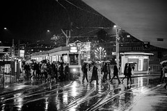 rushhour.. (Cem Bayir) Tags: street leica light people blackandwhite bw reflection monochrome rain station night umbrella 50mm schweiz switzerland noiretblanc central tram rangefinder rainy zrich schwarzweiss summilux asph tramstation zh leicam asperical leicam240