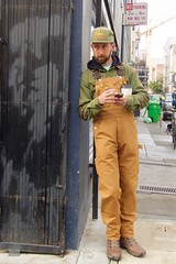 Morning coffee (Ed Yourdon) Tags: sanfrancisco coffee hat streetphotography overalls worker yourdon