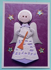 ATC1288 and 1289 - Ready to Welcome the Newborn King (tengds) Tags: white atc artisttradingcard angel silver stars gold wings purple trumpet halo wires button paperdoll doily origamipaper artcard papercraft japanesepaper handmadecard chiyogami christmasangel paperdoily tengds furrywires