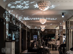 snowflake lamps (genelabo) Tags: snowflake christmas schnee weihnachten munich cafe advent decoration slide dia mpw deko projektion reitschule flocken genelabo