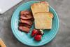 simple brunch (jojoannabanana) Tags: christmas fruit breakfast bread lunch bacon toast strawberries butter brunch fiestaware