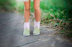 green & pink leather shoes