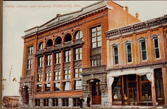 Public Library and Armory, Color Postcard