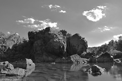 Rock Island (eatkisson) Tags: blackandwhite rocks clouds river maryland