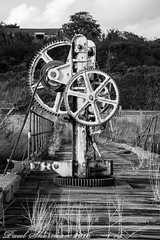 The decay of the unused (muppet1970) Tags: winch rust decay shotley suffolk pier blackandwhite timber grass old mechanical cogs trees