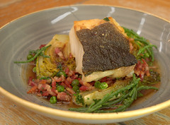 Seasonal Cod Fillet on Greens & Bacon (Tony Worrall) Tags: add tag ©2016tonyworrall images photos photograff things uk england food foodie grub eat eaten taste tasty cook cooked iatethis foodporn foodpictures picturesoffood dish dishes menu plate plated made ingrediants nice flavour foodophile x yummy make tasted meal seasonal cod fillet greens bacon fish