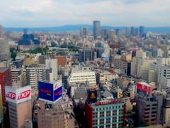 Osaka from Hep-5 (Osaka, Japan) (joe nes) Tags: osaka japan asia city tiltshift miniature view high cityscape skyline buildings architecture architexture