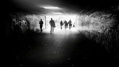 street 02 (mio schweiger | photography) Tags: blackandwhite mio schweiger monochrome photography berlin people city subway daily life graffity escalator tiles