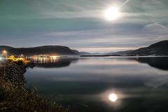 moonlit (Ratatosken) Tags: bjerka norge norway moon mne reflection speiling night natt sea fjord nightsky fjell mountains nightlight