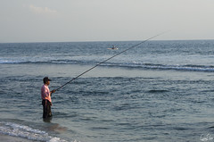 Le pcheur (Rosca75) Tags: indonesia beach fishing sea seaside ocean oceanside oceanview oceans oceanblue infinity landscape blue oceanwave horizon light colorshades water senggigi lombok