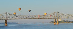 Balloons Over the Mississippi River (michaelsteen57) Tags: hotairballoons mississippiriver bridge natchez mississippi river
