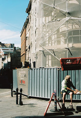 Lunch (joshuacolephoto) Tags: street streetphotography uk ukstreetphotography people colour film 135 35mm kodak portra 400 travel explore england bristol contrast sunny summer warm old man lunch time sun relax break