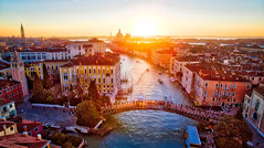 Ponte DellAccademia At Sunrise (Stuck in Customs) Tags: italy quad stuckincustoms treyratcliff venice sunset dusk horizontal colour color daily dailyphoto rr hdr hdrphotography hdrphoto outside outdoor outdoors canal grandcanal waterway gondola northeastitaly workshop pink purple red orange blue bridge boats buildings houses street dji quadcopter phantom3 february 2016 architecture arch water waterfront steelarchbridge city skyline