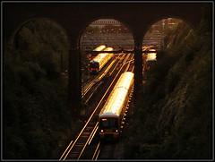 Dartford Dusk (Jason 87030) Tags: dark dusk sunset dartford bridge scene trains glint unit gillingham 2010 september 465023 lights glow cutting