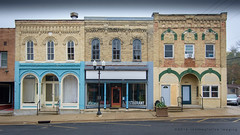 three stores (contemplative imaging) Tags: autumn october nikon american walworthcounty storefront businessdistrict day midwestern 2016 fall 20161015 small dslr stores sharon photography architecture d7000 yellow storefronts forhire photo tok1228f4 foggy ciwisc20161015d7000 downtown cloudy street brick wi overcast rural empty town tokina 119 buildings building country architectural forrent wisconsin digital ronzack america saturday fog usa midwest contemplativeimaging cool atx1228prodx tokinaaf1228mmf4