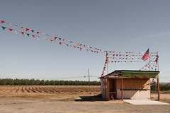 Strawberry Stand in October (Shira Bezalel) Tags: route120 flags fruitstand roadtrip strawberrystand