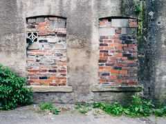 Nowhere #011 (Peter.Bartlett) Tags: vsco window unitedkingdom brick facade urbanarte weeds westyorkshire colour lunaphoto urban yorkshire uk kodakportra160emulation huddersfield ricohcapliogx100 abstract wall england gb brickedup