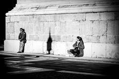 Enjoying the sun (MacCabri) Tags: blackandwhite monochrome street streetphotography streetcapture sun shade shadow contrast people relaxing budapest hungary bazilika istvan szent