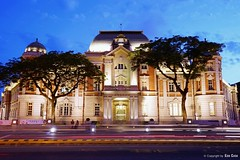 National Museum of Taiwan Literature () Tags: asia historicism historic            sky night light          nationalmuseumoftaiwanliterature tainanprefecturehall tainan taiwan saiwaicho building architecture hall mansardroof
