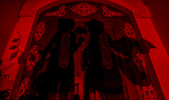 Scarlet Sisters (bdrc) Tags: asdgraphy remilia flandre scarlet sisters natsumi gungnir cosplay portrait mansion seremban abandoned building tokina 1116 ultrawide sony a6000 red flash gel remote trigger shadow silhouette vampire wings front door entrance game touhou project night