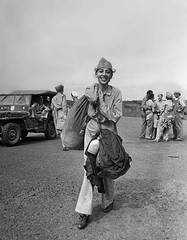 #A U.S. Army nurse carries her gear prior to boarding a plane for transport after being liberated from a Japanese internment camp. She had been a POW for three years. Manila, National Capital Region, Luzon, Philippines. February 1945. Image taken by Carl (Histolines) Tags: histolines history timeline retro vinatage a us army nurse carries her gear prior boarding plane for transport after being liberated from japanese internment camp she had been pow three years manila national capital region luzon philippines february 1945 image taken by carl mydans 1163 x 1491 vintage dh historyporn httpswwwredditcomrhistoryporncomments5bwx6mausarmynursecarrieshergearpriortoutmsourceifttt