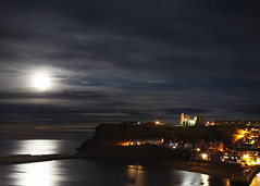 Moonlit East Cliff (=AA=) Tags: moon whitby abbey trail light reflection st mary steps town night dark clouds beach