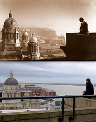 View from the Liver Building 1910s and 2016 (Keithjones84) Tags: liverpool merseyside history localhistory thenandnow rephotography liverbuilding royalliverbuilding