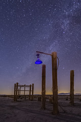 Blue Light Special (slworking2) Tags: saltoncity california unitedstates us lamp saltonsea pier abandoned desert night nighttime