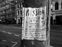Have you seen this monster? (duncan) Tags: streetart blackandwhite clive