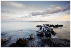 Setting Sunset over Rangitoto (rubyAnnie8) Tags: nz newzealand volcano volcanic beach takapuna sunset water coast shore eastcoast long exposure tripod canon 600d longexposure nature lightroom takapunatomilfordwalk northshore ndfilter nd sea blue goldcollection