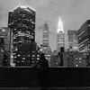 Contrasting Worlds, NYC (Aaron Bieleck) Tags: hasselblad500cm 120film analog 6x6 square film filmisnotdead hasselblad mediumformat wlvf newyorkcity 60mmct sarah skyline chryslerbuilding city rooftop kodaktmax400 filmgrain