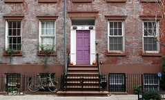 The house next door: 18-20 Jones Street (1844), Greenwich Village, New York (Hunky Punk) Tags: dwwg house building brick architecture greekrevival antebellum window door stoop ironwork iron railing gate steps row street jones 18 20 greenwichvillage newyork city neighborhood ny nyc