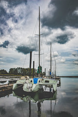 Trimaran (MikeBrowne) Tags: sky canada water clouds sailboat coast nikon britishcolumbia shoreline surrey 24mm tamron trimaran d800