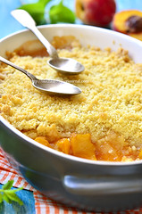 Peach crumble. (lilechka75) Tags: morning blue autumn summer food english cake fruit breakfast vintage pie crust recipe table dessert cuisine baking wooden yummy healthy dish sweet background traditional rustic peach pudding style tasty vegetable gourmet delicious crisp eat homemade meal pastry apricot crumble cooked nectarine crunchy cobbler prepared