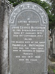 Isabella HUTCHISON nee FORBES, first white child born in Onehunga & husband John, first Onehunga Town Clerk and Borough Treasurer of Onehunga (SandyEm) Tags: aberdeen hutchison onehunga peterhead maoriwar 29september2013 firsteuropeanbornonehunga onehungaladiesbenevolentsociety earlyonehungapioneer onetreehillboroughcouncil marischulcollege onetreehilldomainboard