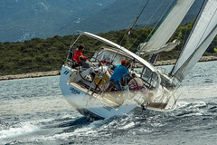 Tense race (zoyapilyugina) Tags: sea sun white race forest boat woods sailing yacht croatia competition sail vehicle heel firstsailing